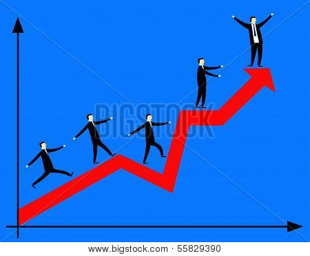 Businessmen On The Red Arrow