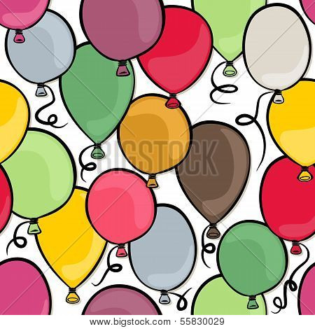 colorful balloons party time seamless pattern on white