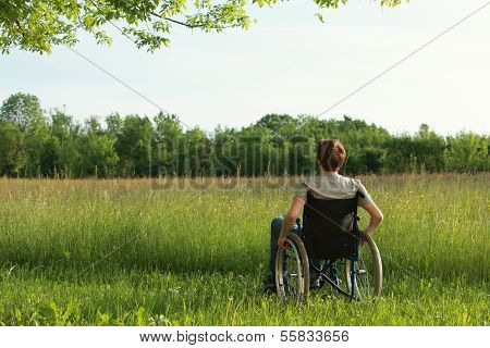 Disabled Young Man On The Park