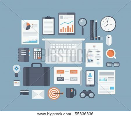 Business Artikel flache Icons Set