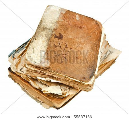 Stack Of Antique Books Isolated On White