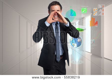 Shouting businessman against steps leading to closed door in the sky