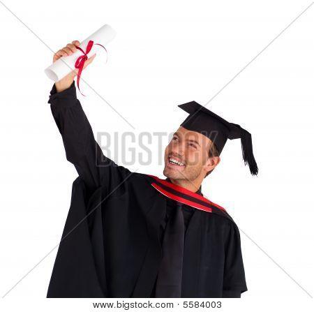 Closeup Of A Boy Celebrating His Graduation