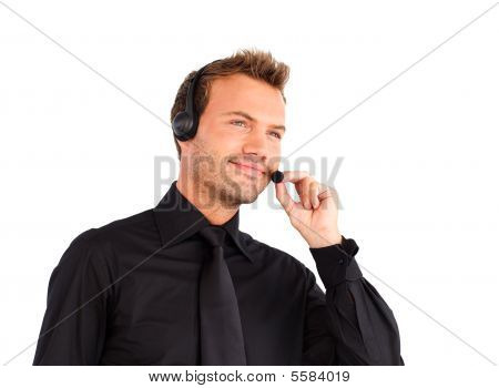 Businessman Working With A Headset On
