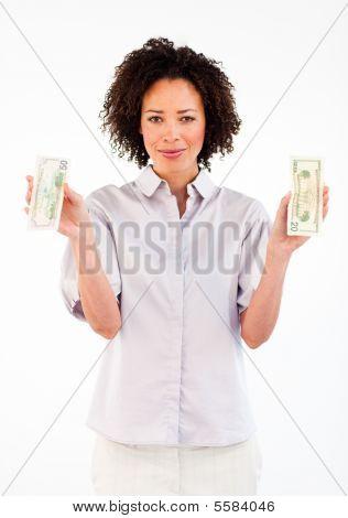 Brunette Businesswoman Holding Dollars