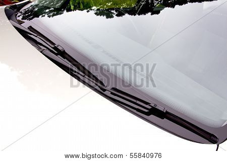 Windscreen Wipers In Resting Position On Windshield