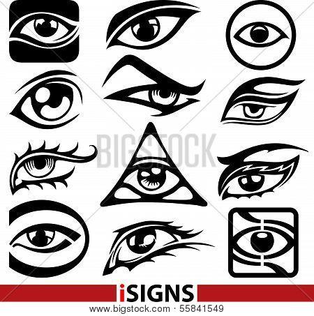 Eye Sign Icons Set