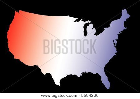 America Map Red White And Blue