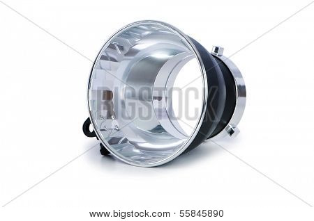 Studio strobe reflector isolated on the white