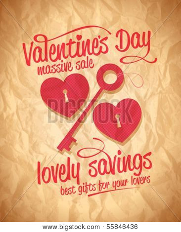Valentine`s day lovely savings typographic design with key and hearts. Eps10