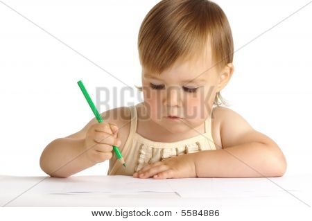 Child Draw With Green Crayon