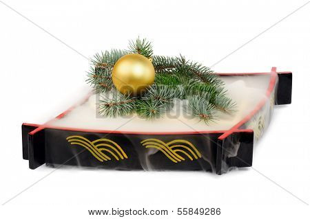 Christmas decoration with mist made by  frozen carbon dioxide