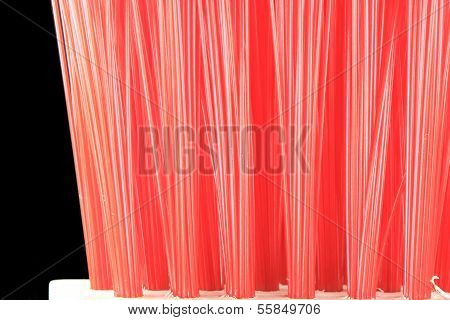 Red brush bristles closeup