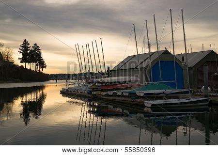 Overcast Sunrise Local Town Marina Puget Sound Nautical Scene