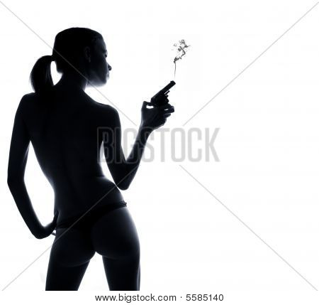 Thin Sexy Woman From Behind Holding A Gun