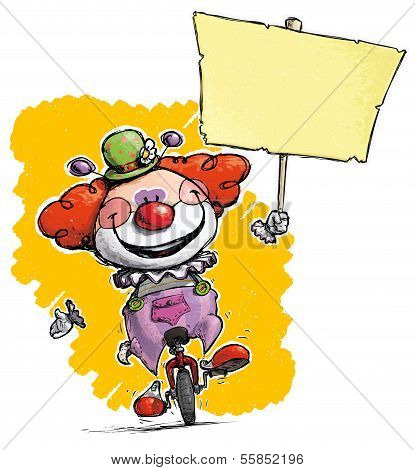 Clown On Unicycle Holding Placard