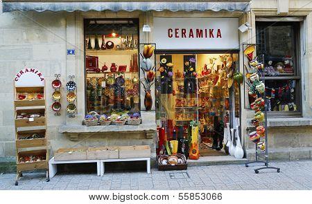 Local ceramic store in Sarlat, France