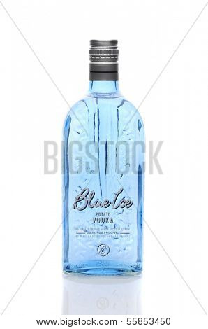IRVINE, CA - January 11, 2013: A 750 ml bottle of  Blue Ice Vodka. Made by Distilled Resources, Inc in Rigby, Idaho, who are the  first to produce potato spirits in the United States.