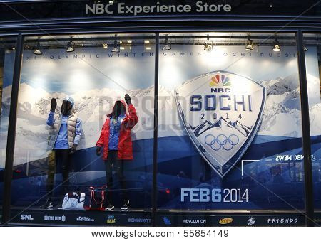 NBC Experience Store window display decorated with Sochi 2014  XXII Olympic Winter Games logo