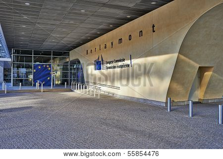 Brussels, Belgium - December 10: The Berlaymont Building Entrance On December 10, 2013 In Brussels.