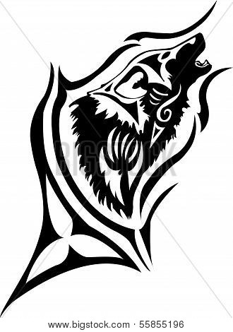 Tribal  wolf with oval flame
