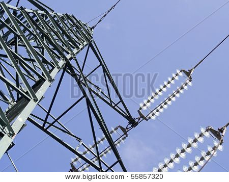 Green High Voltage Pylons