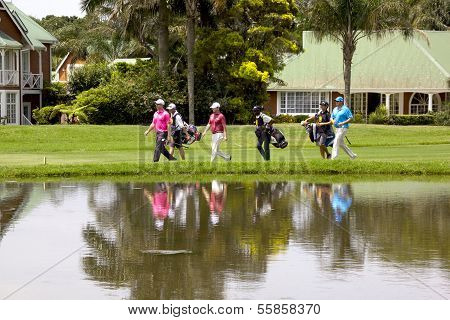 Golfers At Mount Edgecombe Golf Club In Durban South Africa
