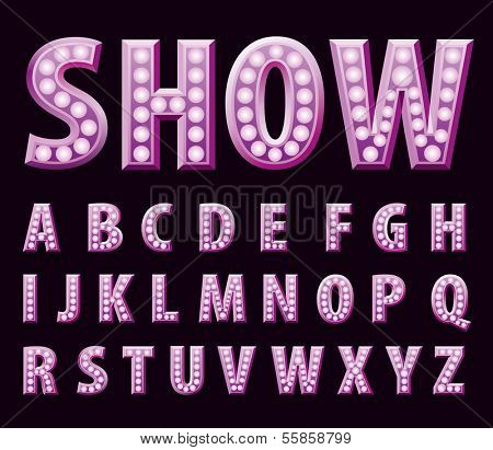 vector purple entertainment letters with bulb lamps
