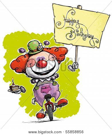 Cartoon-artistic Illustration Of A Clown On Unicycle Holding A Happy Birthday Placard