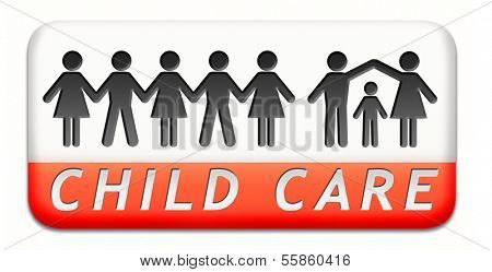 child care in daycare or cr�?�?�?�¨che by nanny or au pair parenting or babysitting children protection against abuse