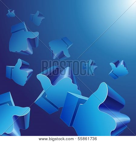 Flying 3d Like symbols on blue background