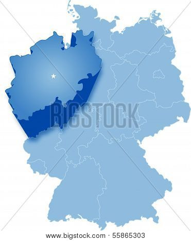Map of Germany where Rhineland-Palatinate is pulled out