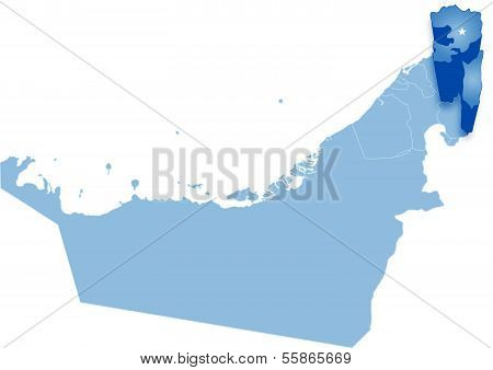 Map of United Arab Emirates where Fujairah is pulled out