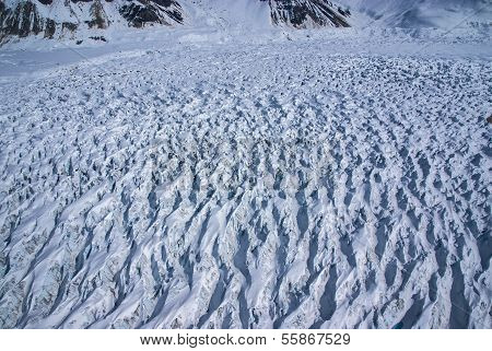 Aerial View of a Frozen River of Ice in the Great Alaskan Wilderness, Denali National Park, Alaska