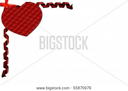Red ribbon valentine with curly red ribbon coner