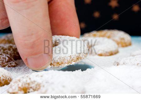 Caucasian Person Eating Some Vanillekipferl