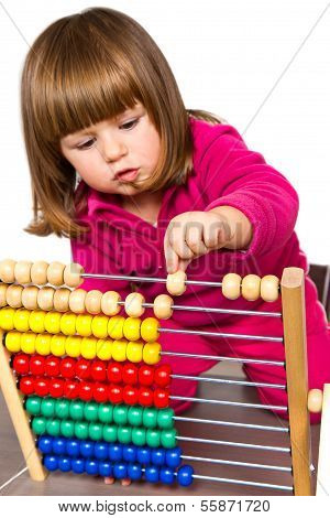 Lovely Little Girl Learning With Abacus