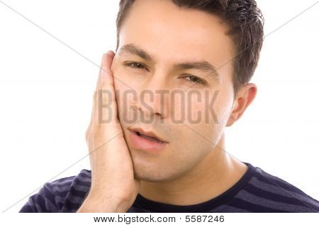Man Holding Hand On Face Because Of Toothache, Isolate On White Background