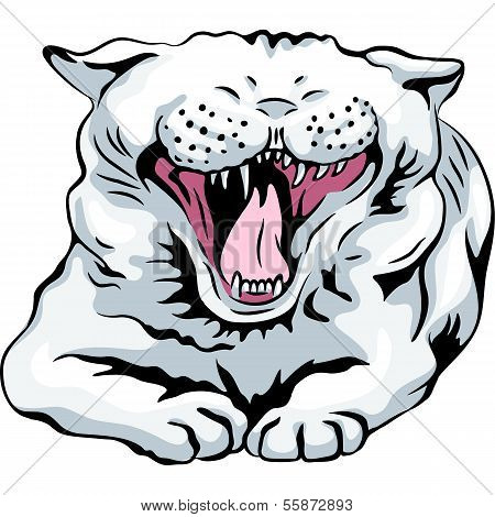Vector Cute White Cat Yawns
