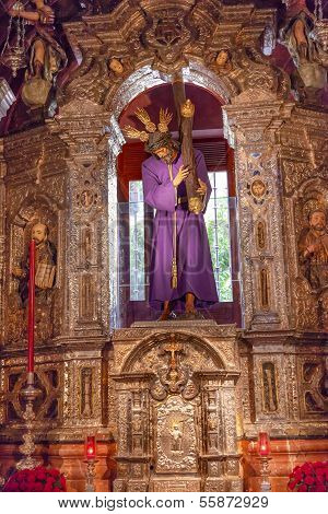 Basilica Jesus Statue With Cross Church Of El Salvador Seville Andalusia Spain