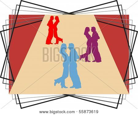 Illustration Of Dancing Couples On A Beige Background