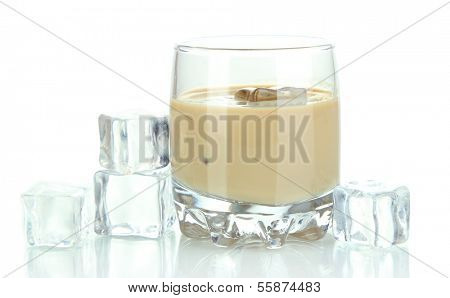 Baileys liqueur in glass isolated on white