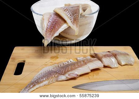 Cod slices with deck