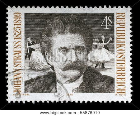 AUSTRIA - CIRCA 1975: A postage stamp printed by Austria shows image portrait of famous Austrian music composer Johann Strauss, circa 1975.