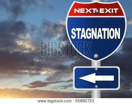 Stagnation road sign with nature sky view