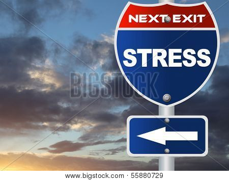 Stress road sign with nature sky view