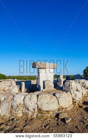 Torralba d'en Salort Menorca taules, ancient megalithic structures, Spain.