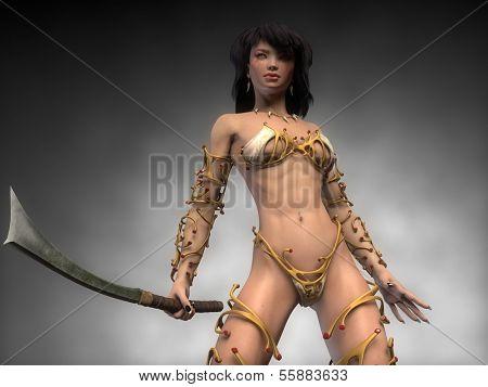 warrior asian girl on golden armor