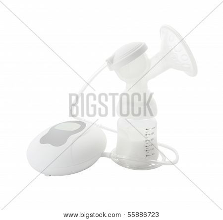 Electric breast pump kit on white background.