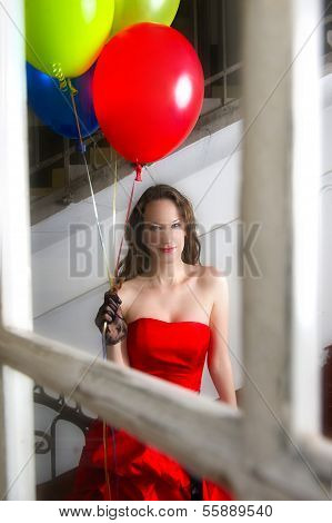 Beautiful Young Girl With Balloons, Red Casual Dress Through The Window Reflection